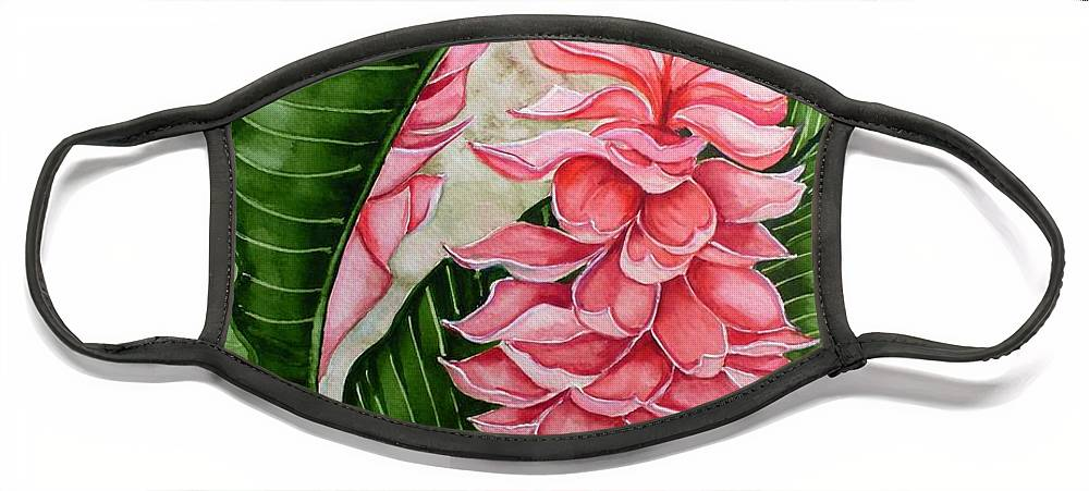 Flower Painting Floral Painting Botanical Painting Ginger Lily Painting Original Watercolor Painting Caribbean Painting Tropical Painting Face Mask featuring the painting Pink Ginger Lilies by Karin Dawn Kelshall- Best