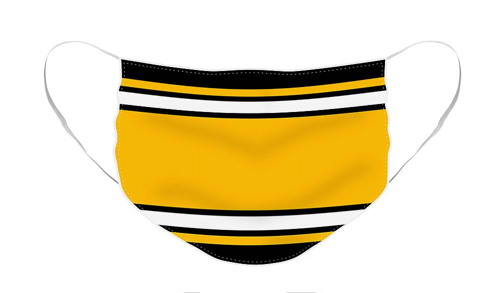 Face Mask featuring the digital art Pittsburgh Football Stripes by Pittsburgh Clothing Co