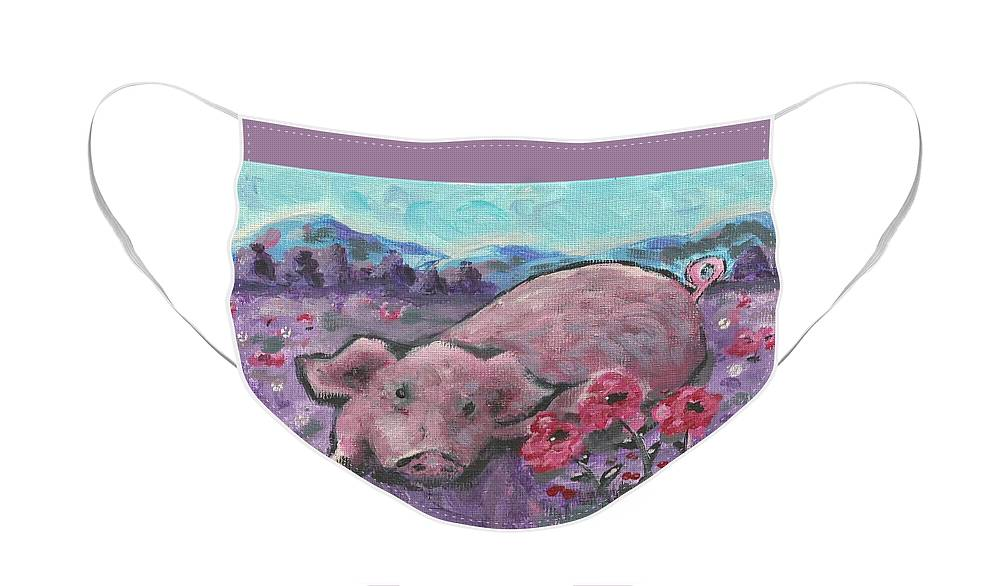 Pig Painting Face Mask featuring the painting Playful Pig by Monica Resinger