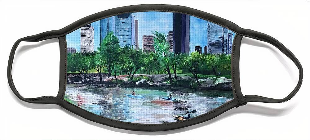River Face Mask featuring the painting Pon de River by Lauren Luna