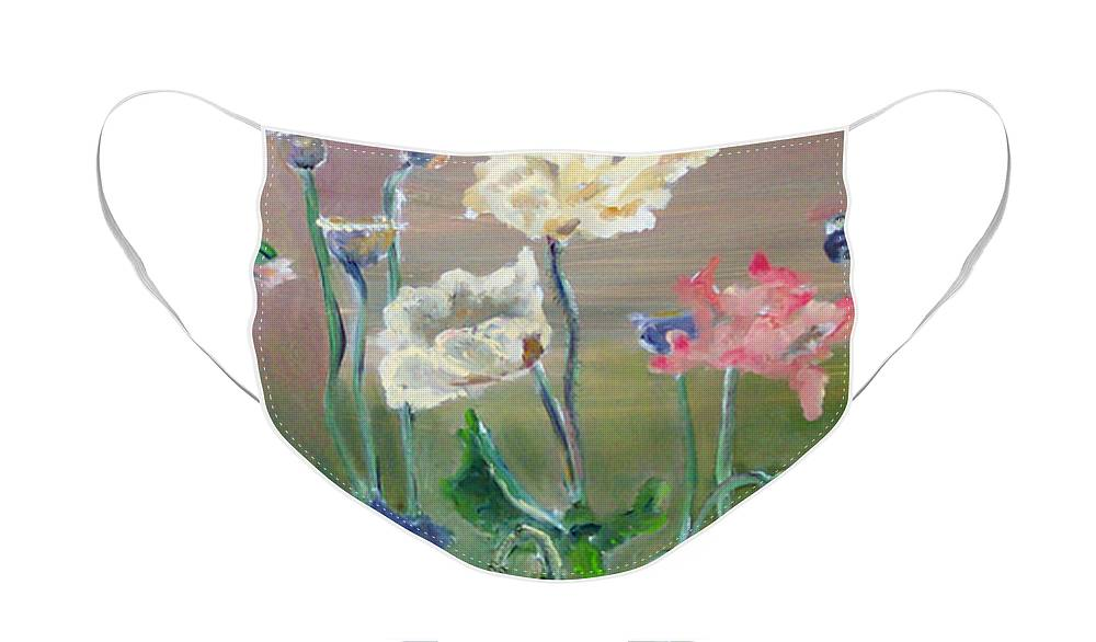 Poppies Face Mask featuring the painting Poppies by CJ Rider