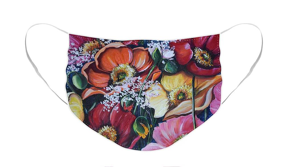 Poppies Face Mask featuring the painting Poppies Delight by Karin Dawn Kelshall- Best
