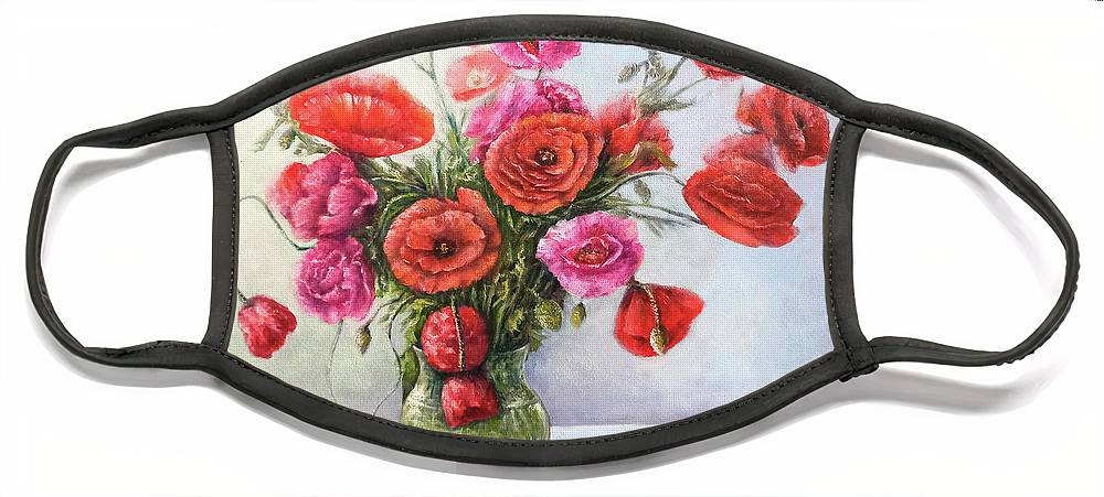 Poppy Face Mask featuring the painting Poppy flowers by Natalja Picugina