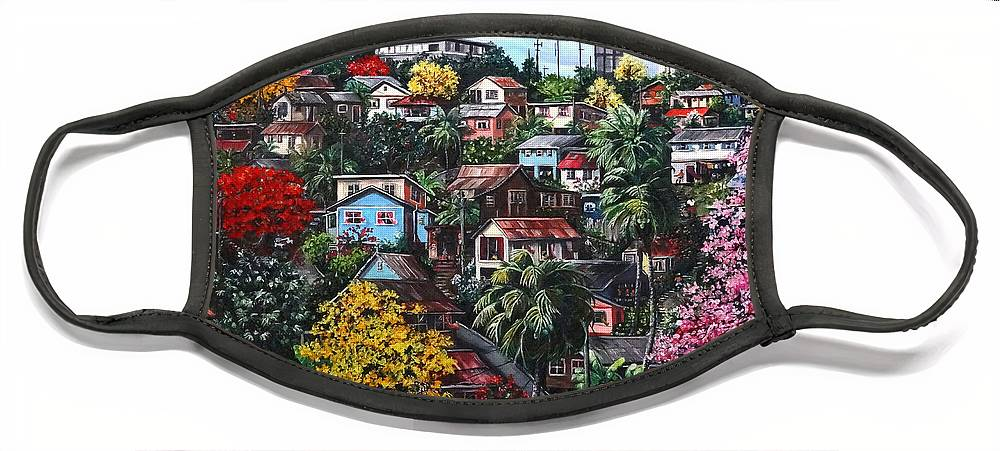 Landscape Painting Cityscape Painting Caribbean Painting Houses Hill Life Color Trees Poui Blossoms Trinidad And Tobago Floral Tropical Caribbean Face Mask featuring the painting Poui Calling For The Rains by Karin Dawn Kelshall- Best