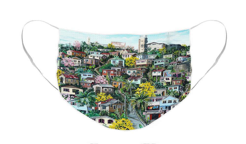 Landscape Painting Cityscape Painting Original Oil Painting  Blossoming Poui Tree Painting Lavantille Hill Trinidad And Tobago Painting Caribbean Painting Tropical Painting Face Mask featuring the painting Poui On The Hill by Karin Dawn Kelshall- Best