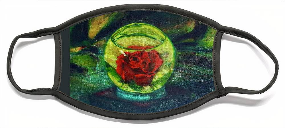 Oil Painting On Canvas Face Mask featuring the painting Preserved Rose . . Draped Canvas by Sean Connolly
