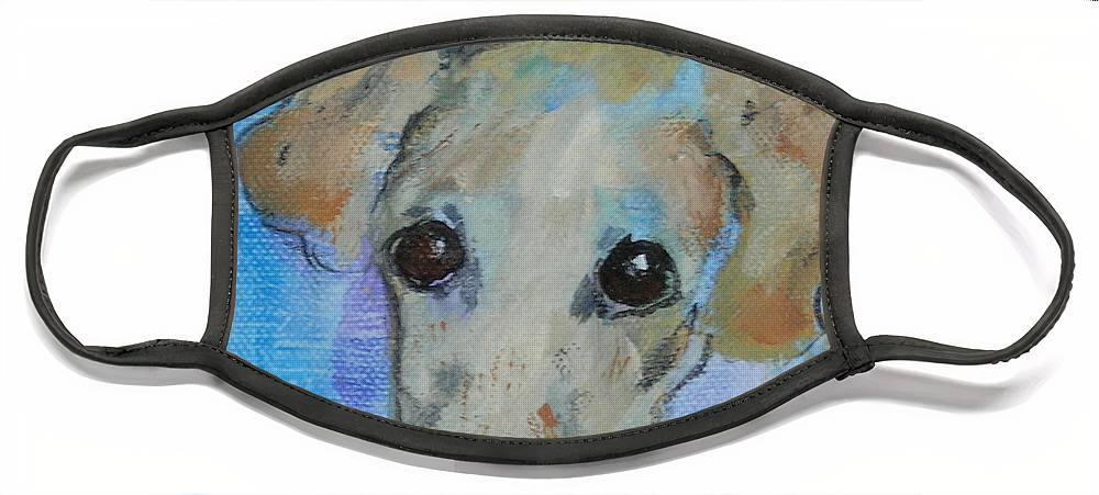 Acrylic Face Mask featuring the drawing Pupster by Cori Solomon