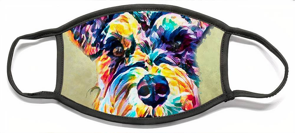 Schnauzer Face Mask featuring the photograph Rainbow Schnauzer in South Carolina by Bellesouth Studio