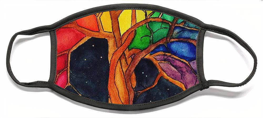 Rainbow Face Mask featuring the painting Rainbow Tree with Night Sky by Vonda Drees
