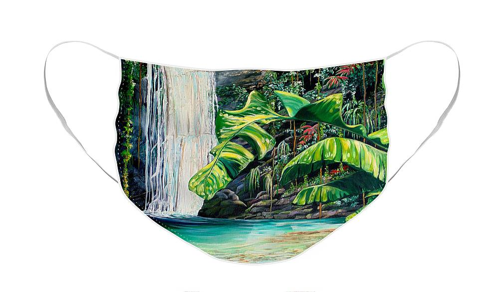 Water Fall Painting Landscape Painting Rain Forest Painting River Painting Caribbean Painting Original Oil Painting Paria Northern Mountains Of Trinidad Painting Tropical Painting Face Mask featuring the painting Rainforest Falls Trinidad.. by Karin Dawn Kelshall- Best