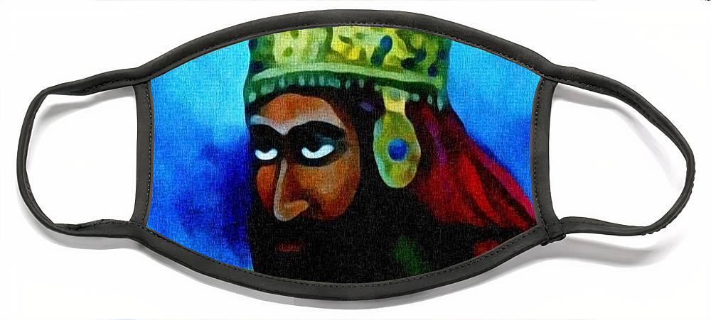 Painting Of Rastafari Face Mask featuring the painting Rastafari by Andrew Johnson