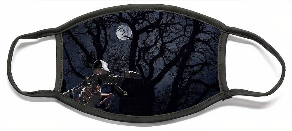 Raven Face Mask featuring the photograph Raven and Rat Skeleton in Moonlight - Halloween by Colleen Cornelius
