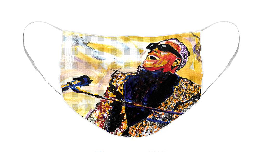 Everett Spruill Face Mask featuring the painting Ray Charles by Everett Spruill