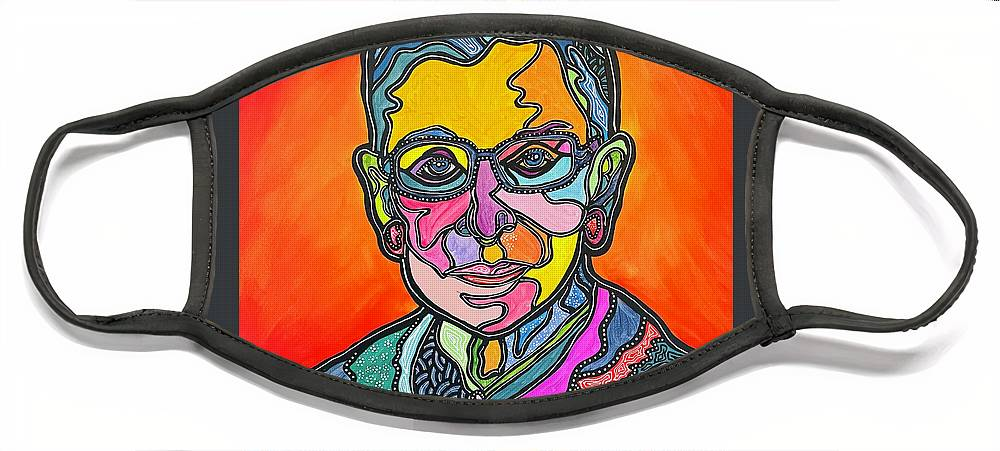 Rbg Face Mask featuring the painting Rbg 2 by Marconi Calindas