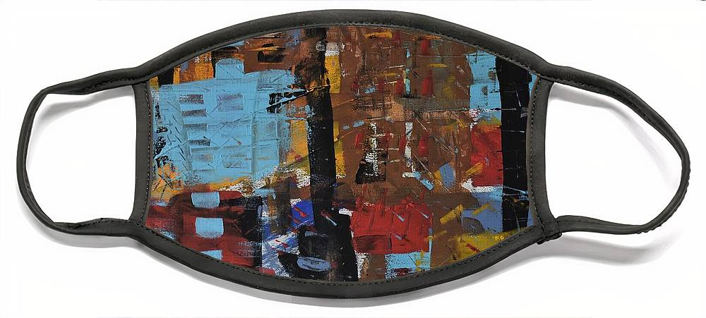 Colorado Face Mask featuring the painting Red Brown Mustard Blue by Pam Roth O'Mara