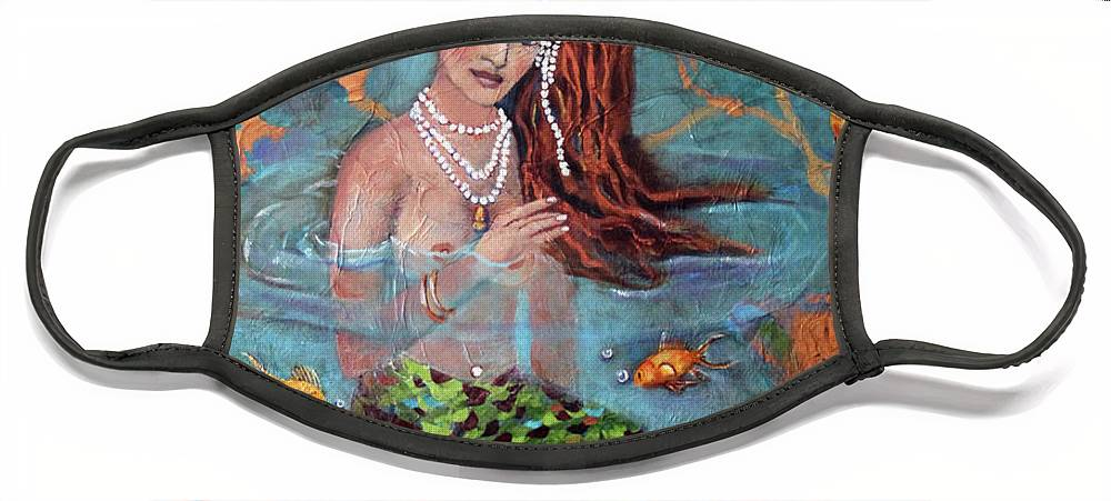 Blue Face Mask featuring the painting Red Headed Mermaid Ophelia Painting by Linda Queally by Linda Queally