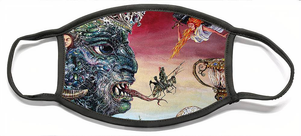 Surrealism Face Mask featuring the painting Revelation 20 by Otto Rapp