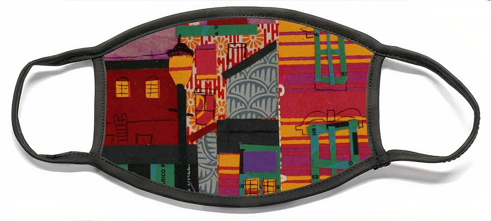 Lowell Face Mask featuring the mixed media Revolving Museum by Debra Bretton Robinson