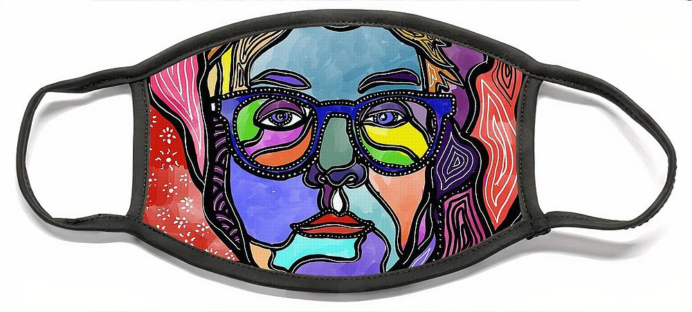 Rosie Odonnell Face Mask featuring the digital art @Rosie by Marconi Calindas