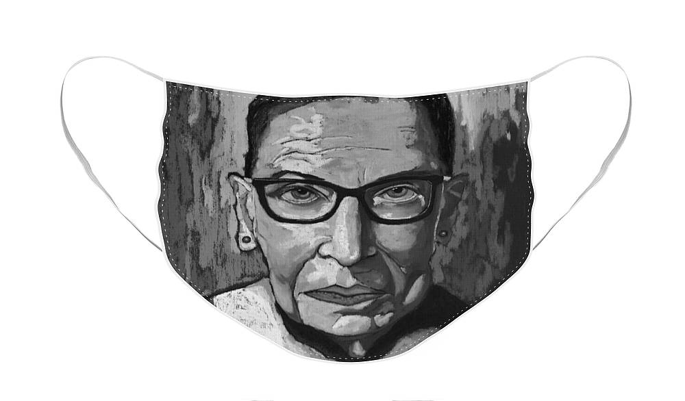 Ruth Face Mask featuring the painting Ruth Bader Ginsburg - Black and White by David Hinds