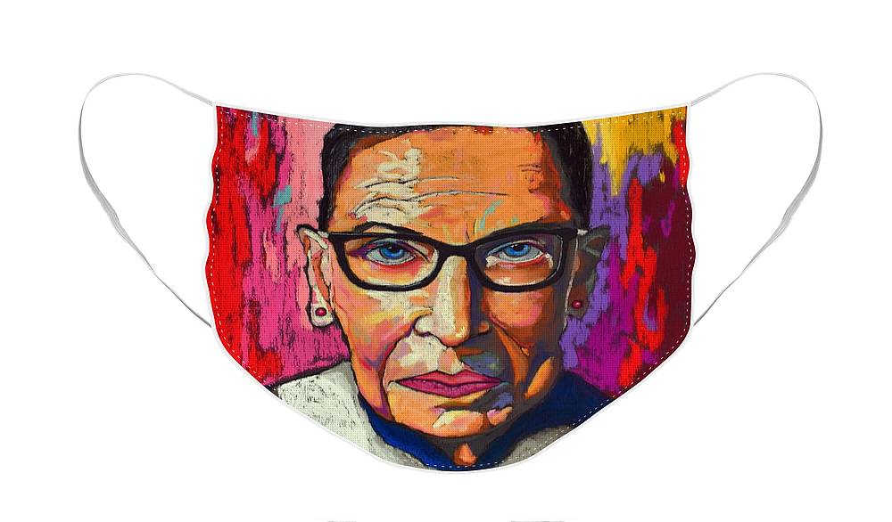 Ruth Face Mask featuring the painting Ruth Bader Ginsburg by David Hinds