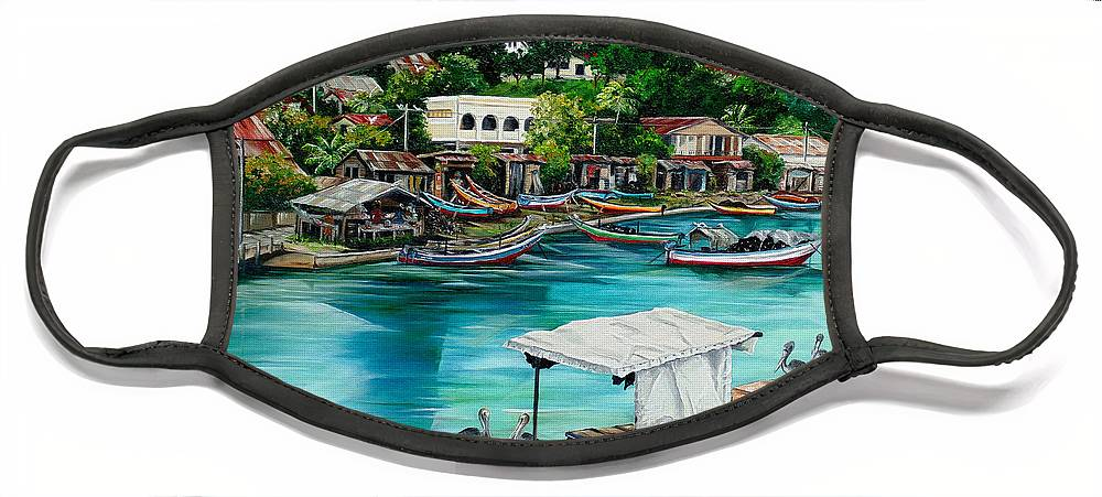 Ocean Painting Sea Scape Painting Fishing Boat Painting Fishing Village Painting Sanfernando Trinidad Painting Boats Painting Caribbean Painting Original Oil Painting Of The Main Southern Town In Trinidad  Artist Pob Face Mask featuring the painting Sanfernando Wharf by Karin Dawn Kelshall- Best