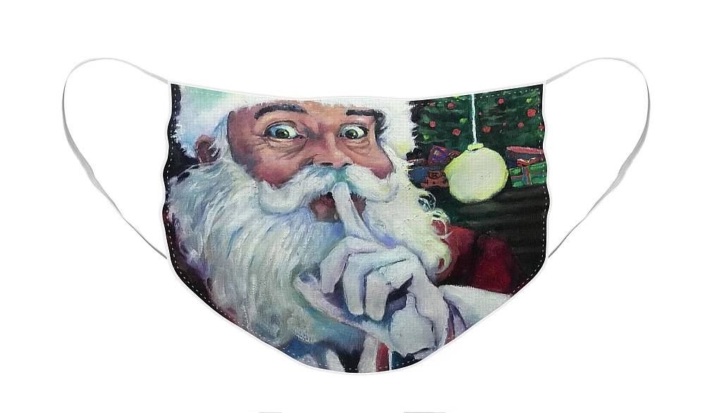 Santa Claus Face Mask featuring the painting Santa 2020 by Kevin McKrell