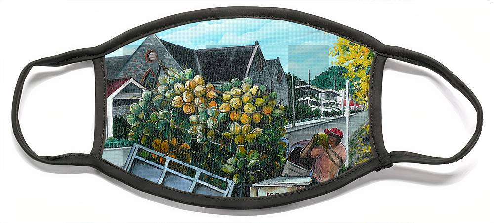 Caribbean Painting Coconuts Vendor Trinidad And Tobago Painting Savannah Paintings  Poui Tree Painting Tropical Painting Face Mask featuring the painting Savannah Coconut Vendor by Karin Dawn Kelshall- Best