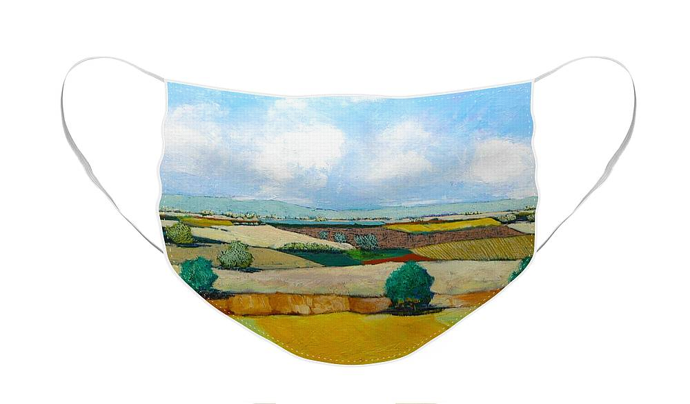 Landscape Face Mask featuring the painting Sears Point by Allan P Friedlander