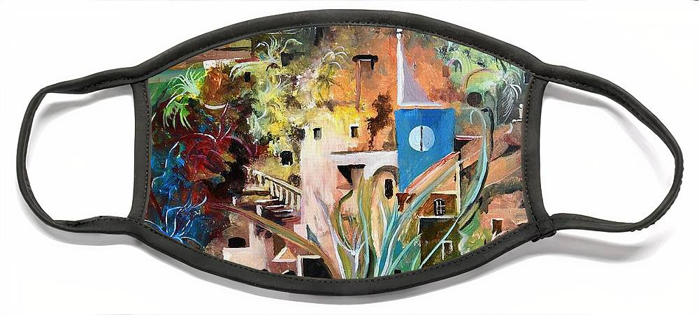 Abstract Face Mask featuring the painting Secret Cove by Sinisa Saratlic