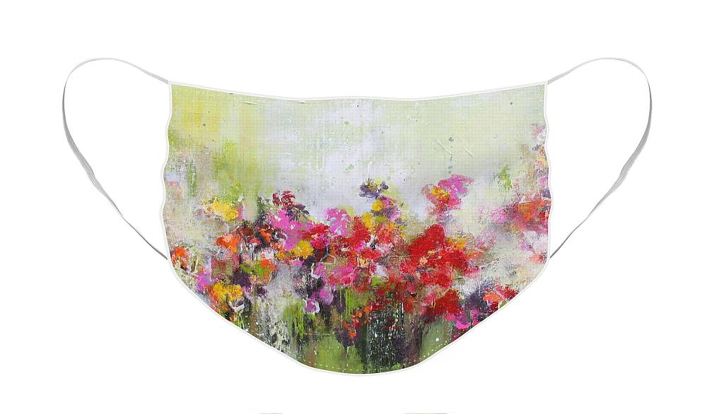 Flowers Face Mask featuring the mixed media Seeds of love by Claudia Gantenbein