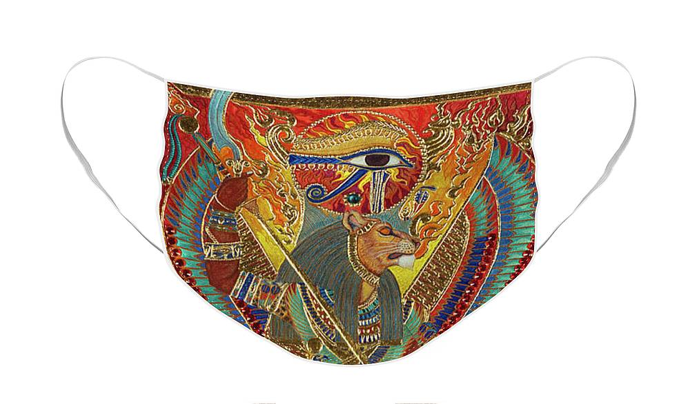Sekhmet Face Mask featuring the mixed media Sekhmet the Eye of Ra by Ptahmassu Nofra-Uaa