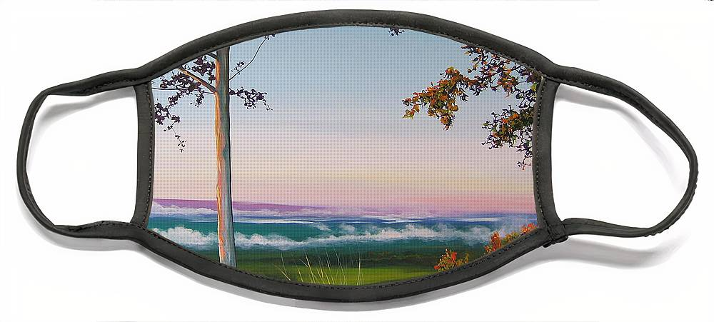 Landscape Face Mask featuring the painting September Sky by Hunter Jay