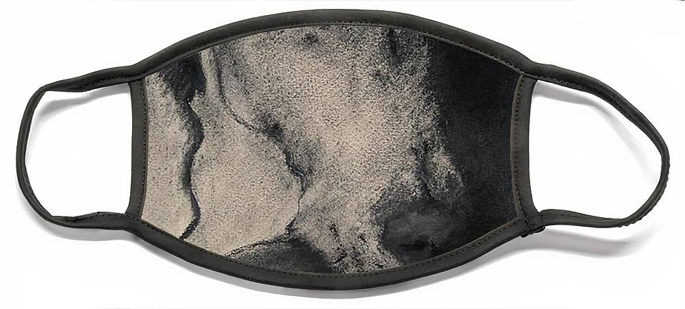 Weimaraner Face Mask featuring the drawing Silhouette by Cori Solomon