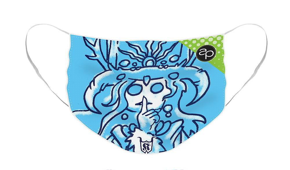 Sisters Of Shhh Face Mask featuring the digital art Sisters of Shhh by Art of the Parade Society