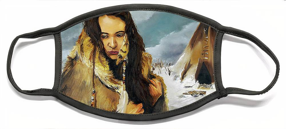 Southwest Art Face Mask featuring the painting Solitude by J W Baker