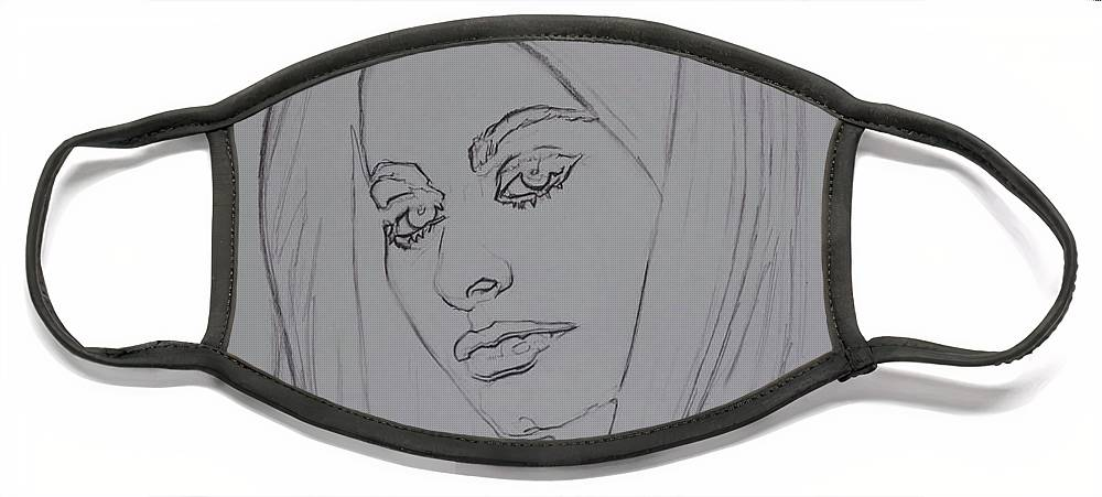Woman Face Mask featuring the drawing Sophia Loren In Headdress by Sean Connolly