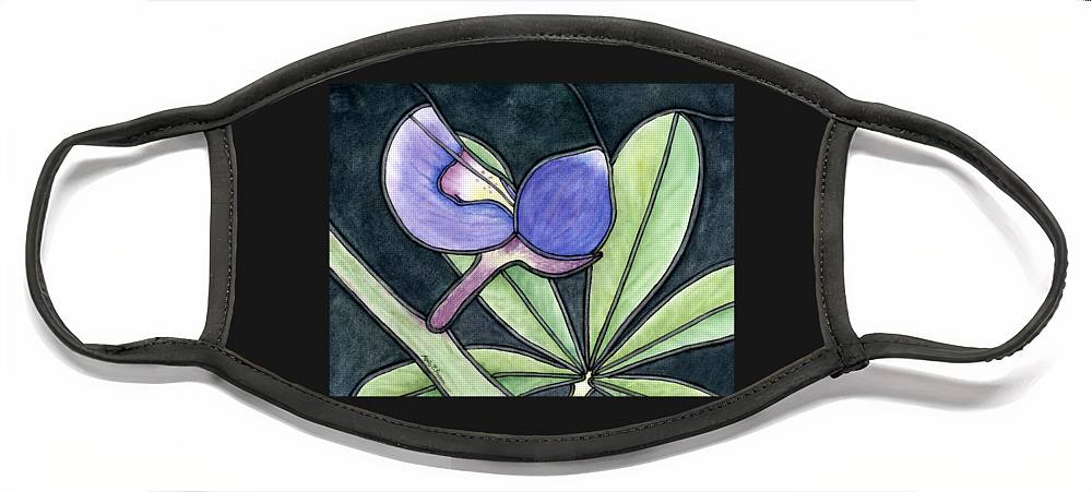 Bluebonnet Face Mask featuring the painting Stained Glass Bluebonnet Petal by Hailey E Herrera