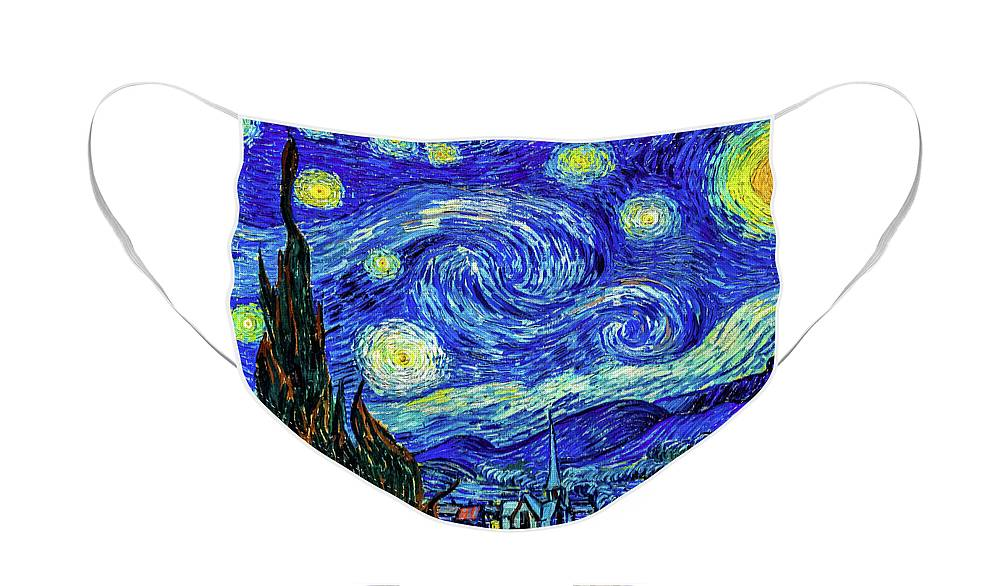 Starry Night St Remy Face Mask featuring the painting Starry Night Print by Vincent Van Gogh by Vincent Van Gogh