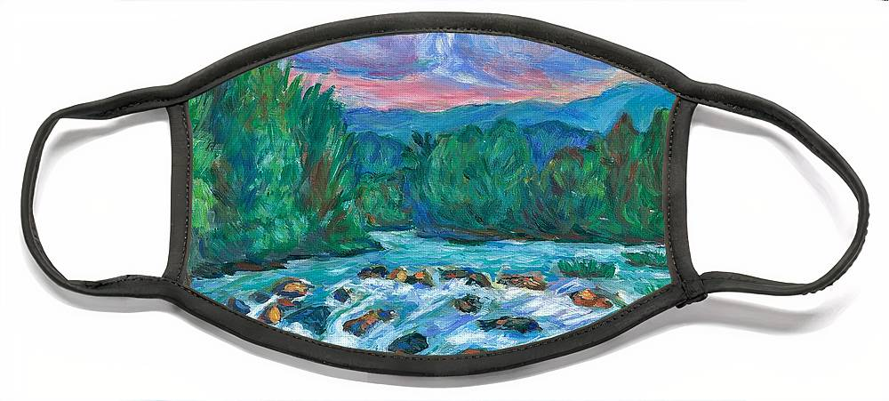 Landscape Face Mask featuring the painting Stepping Stones on the New River by Kendall Kessler