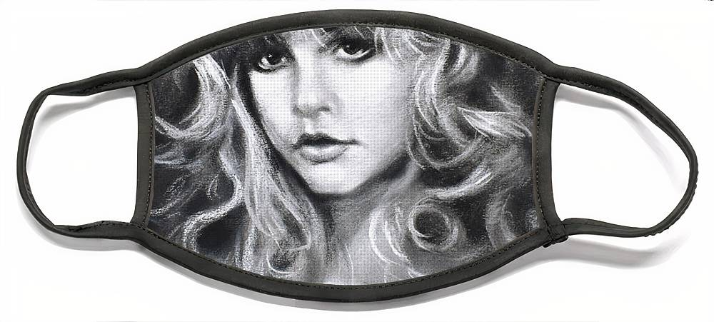 Stevie Nicks Face Mask featuring the drawing Stevie Nicks by Ylli Haruni