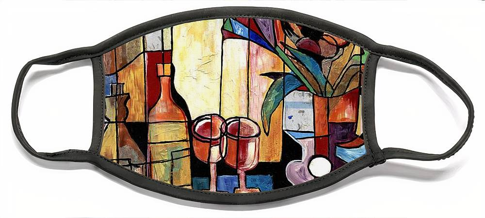 Everett Spruill Face Mask featuring the painting Still Life with Wine and Flowers for two take 2 by Everett Spruill
