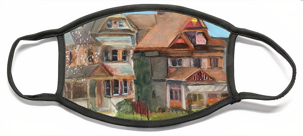 Stockton Street Face Mask featuring the painting Stockton Street by Sheila Mashaw