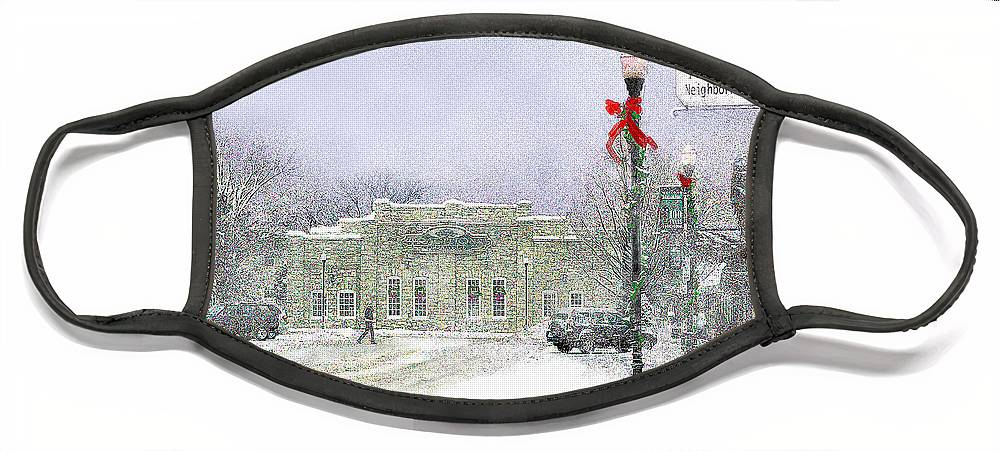 Snow Scene Face Mask featuring the photograph Strang Car Barn in Winter by Steve Karol
