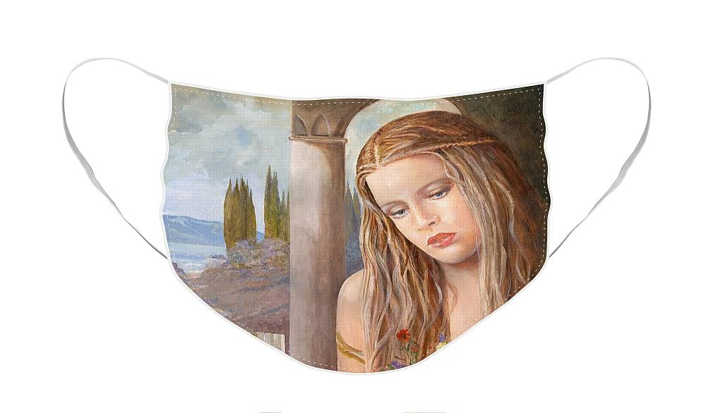Portrait Face Mask featuring the painting Summer Day by Sinisa Saratlic