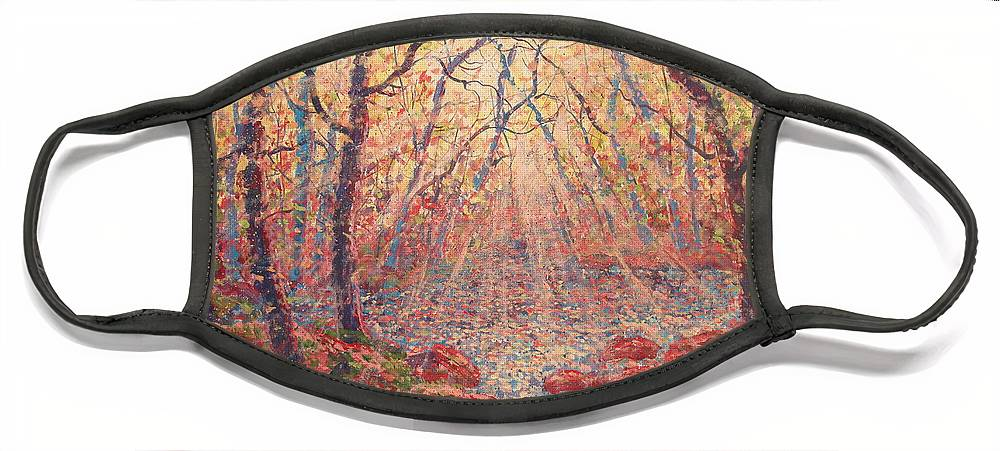 Painting Face Mask featuring the painting Sun Rays Through The Trees. by Leonard Holland