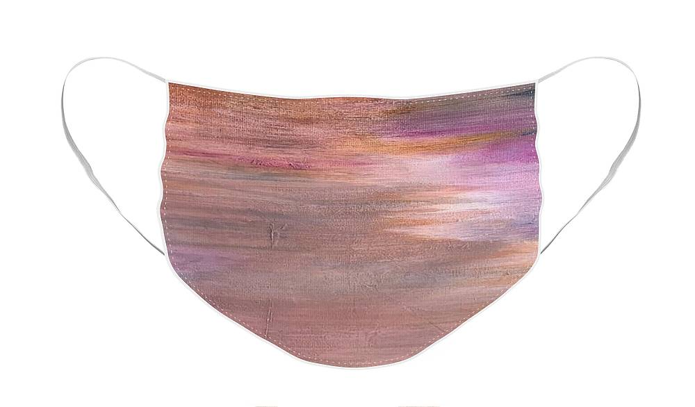 Abstract Face Mask featuring the painting Sunrise by Carolyn Rhinebarger