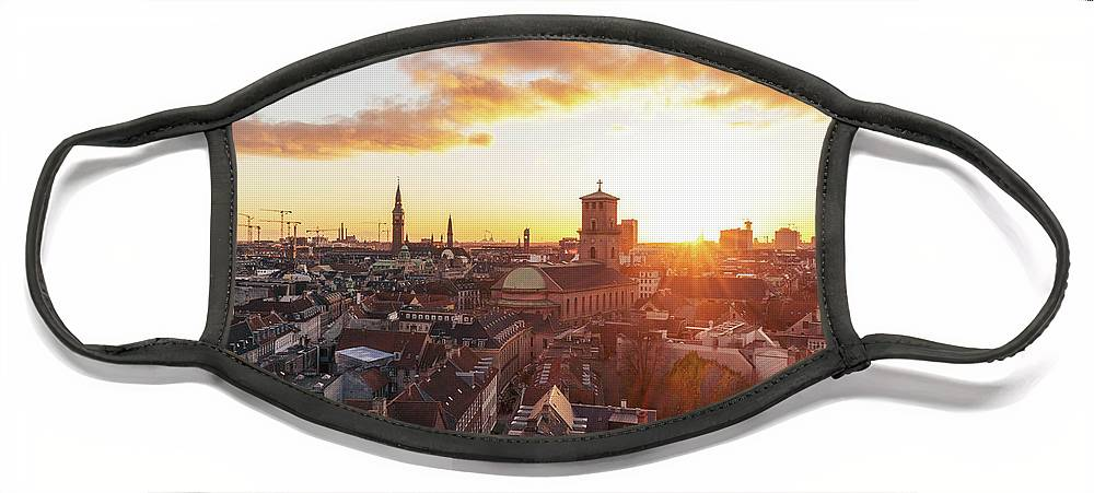 City Face Mask featuring the photograph Sunset above Copenhagen by Hannes Roeckel