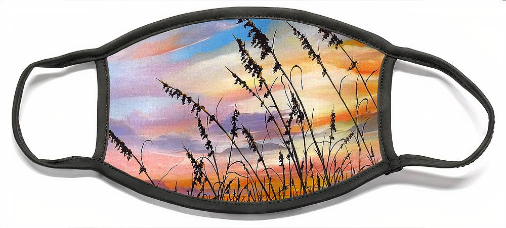 Ocean Painting Face Mask featuring the painting Sunset Fort Desoto Beach by Karin Dawn Kelshall- Best