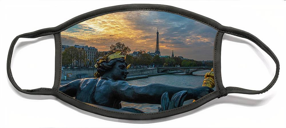 Eiffel Tower From The Alex Bridge Face Mask featuring the photograph Sunset on the Seine River by Mike Brown